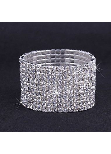 Rhinestone Decorated Silver Metal Wide Bracelet