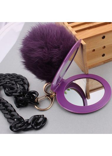 Metal Chain Furry Ball Mirror Pendant Sweater Necklace