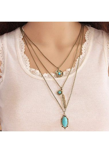 Layered Gold Metal Turquoise Decorated Necklace