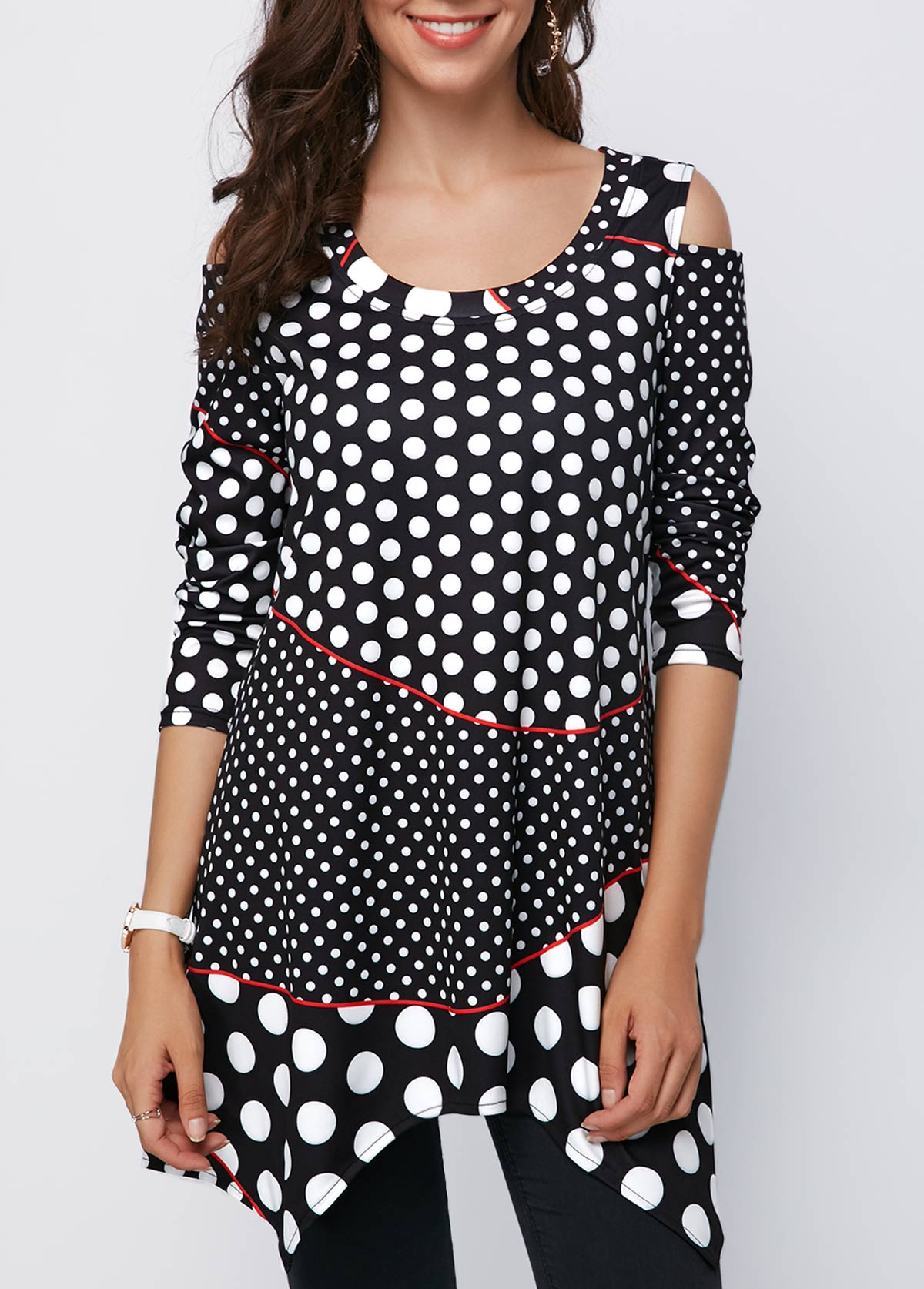 Cold Shoulder Polka Dot Asymmetric Hem Black Blouse