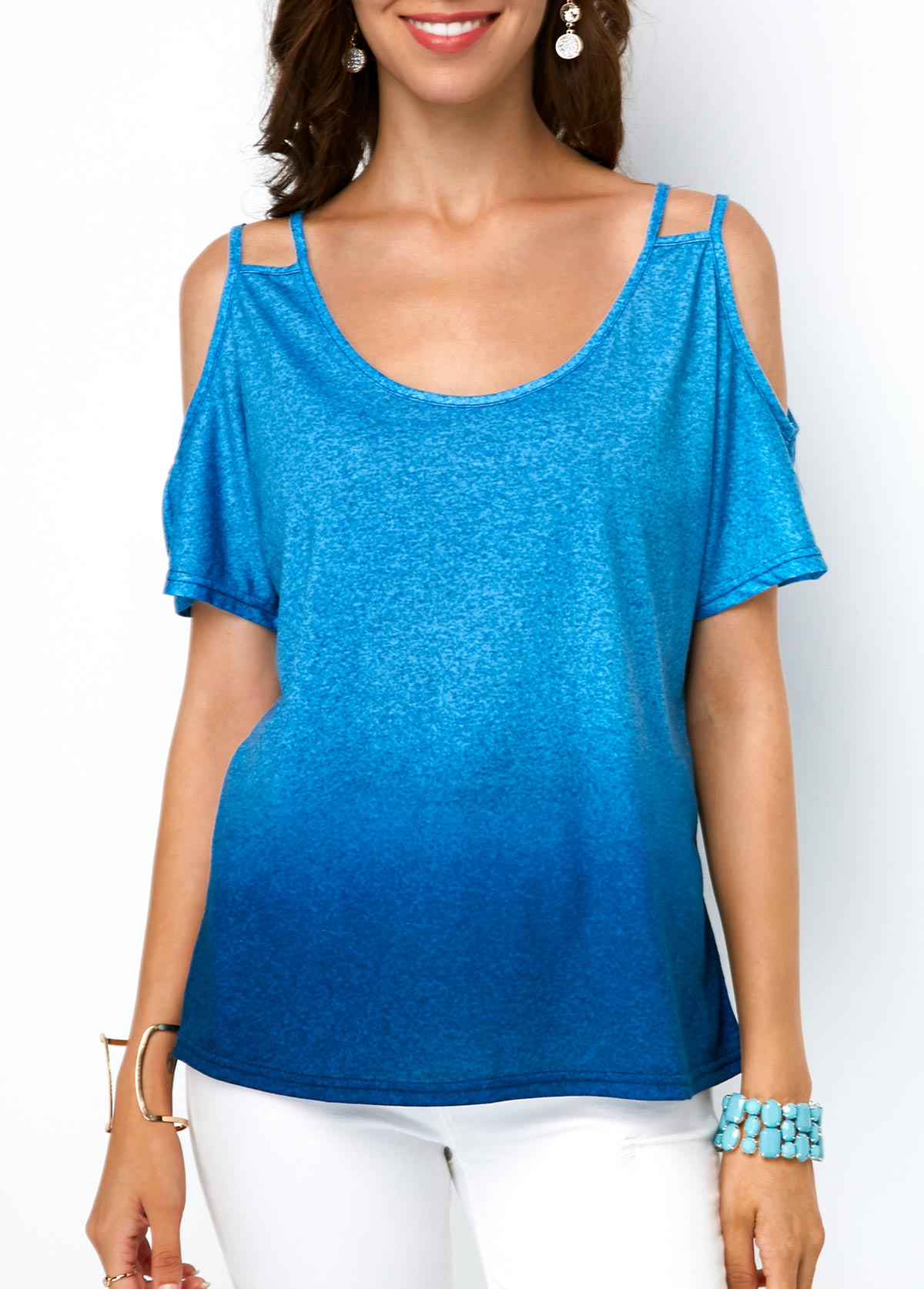Cold Shoulder Round Neck Gradient T Shirt