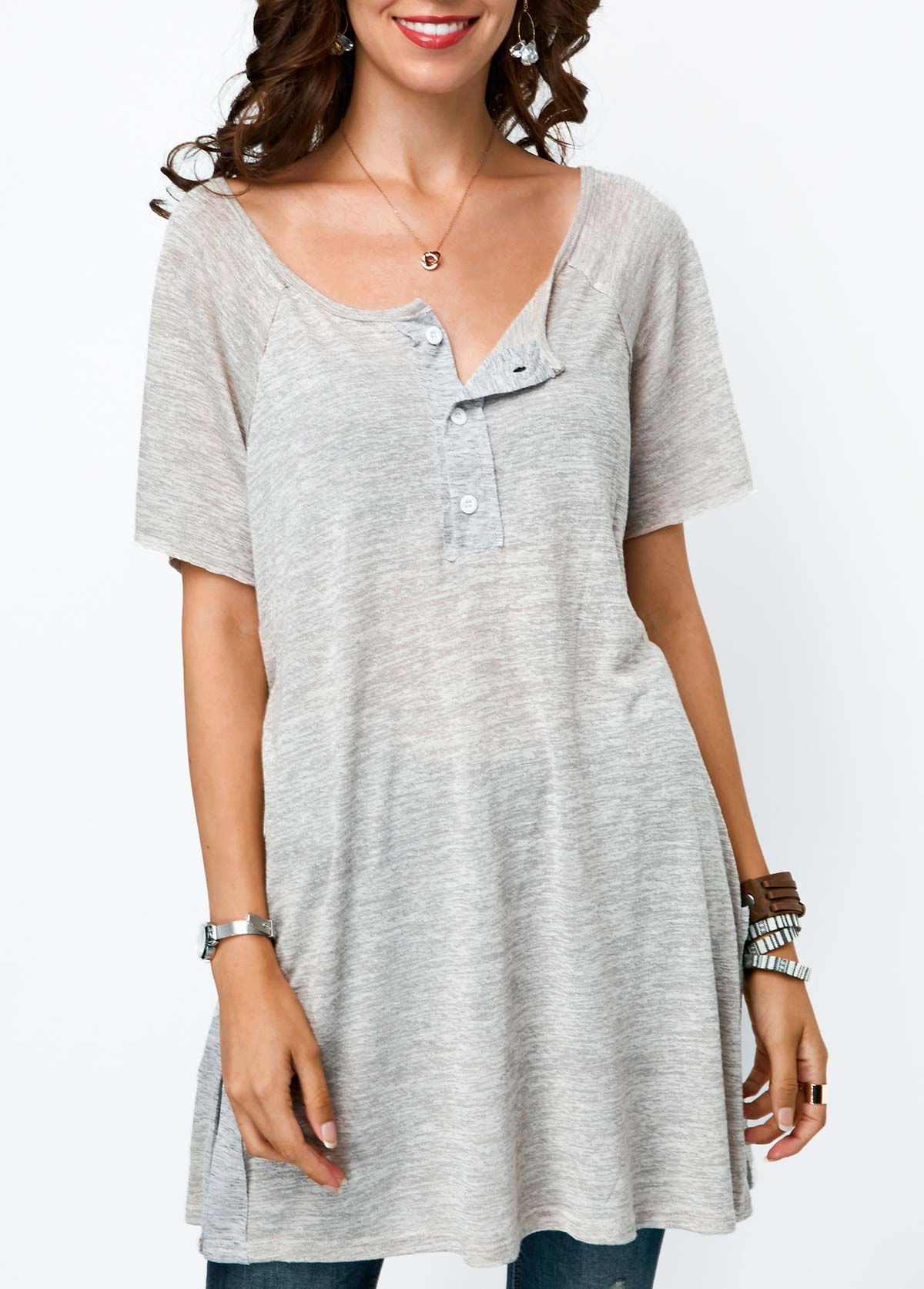 Button Detail Short Sleeve Grey Tunic T Shirt