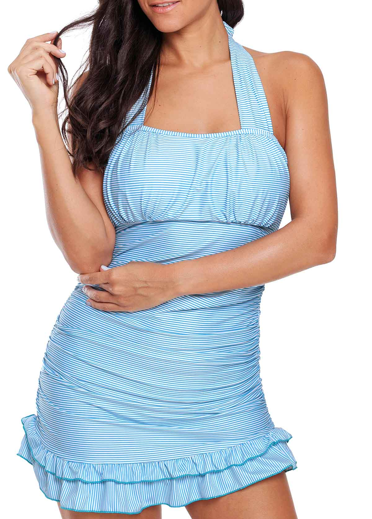 Stringy Selvedge Tie Back Ruched Printed Tankini Set