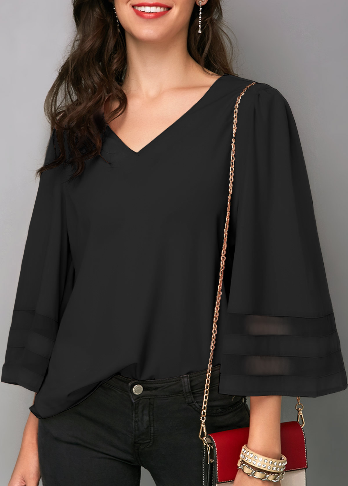 Black Flare Sleeve V Neck Blouse