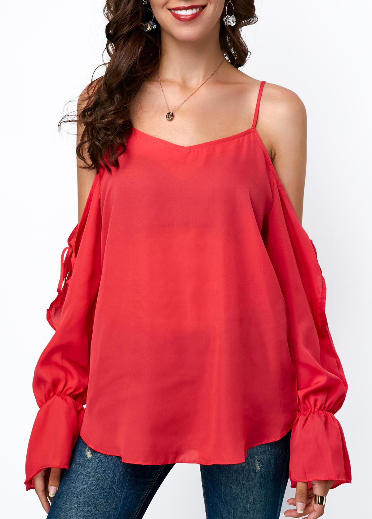 Strappy Cold Shoulder Long Sleeve Blouse