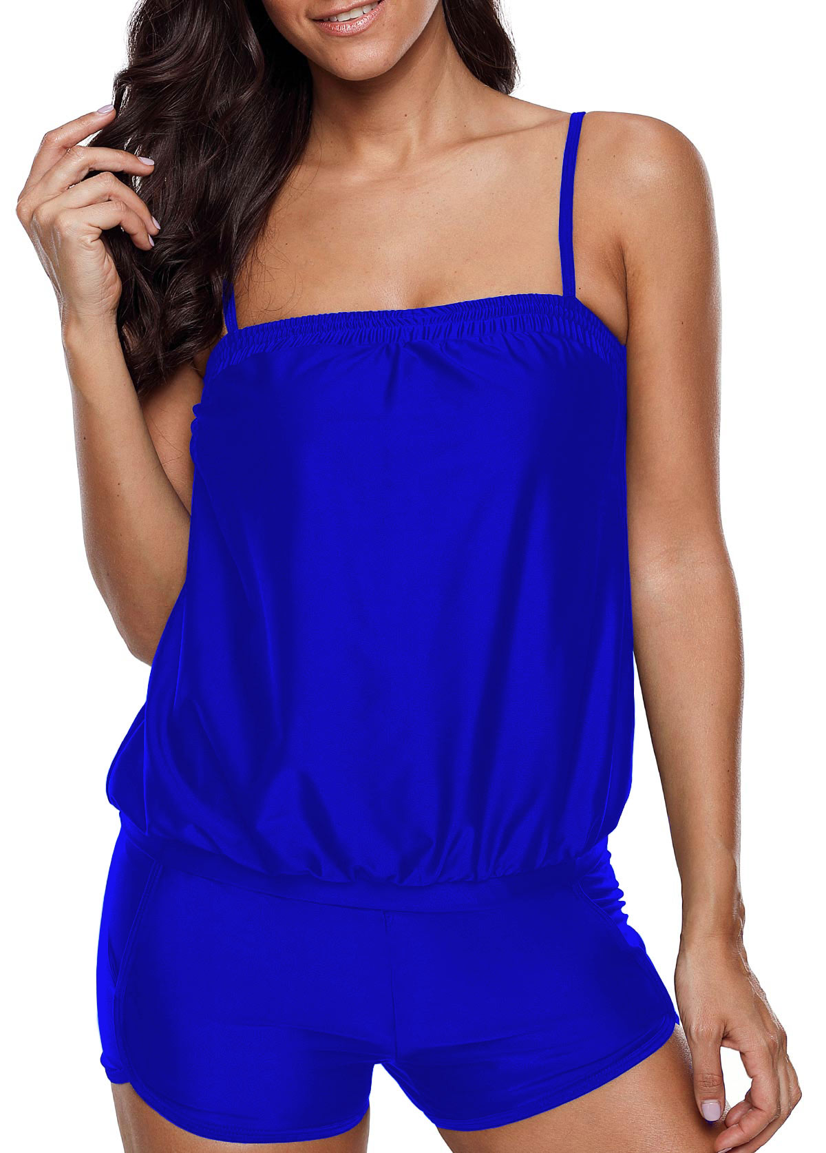 Spaghetti Strap Royal Blue Tankini Set