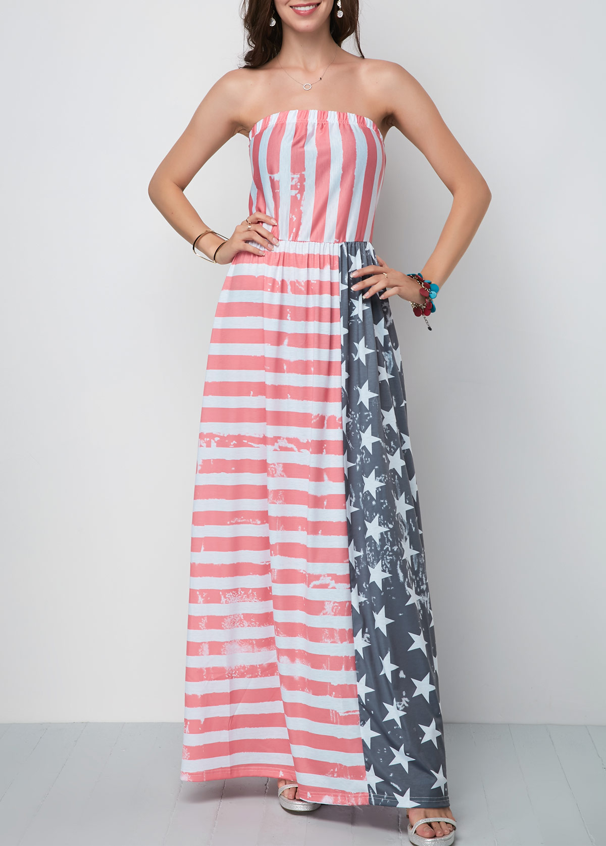 Star and Stripe Print Maxi Dress