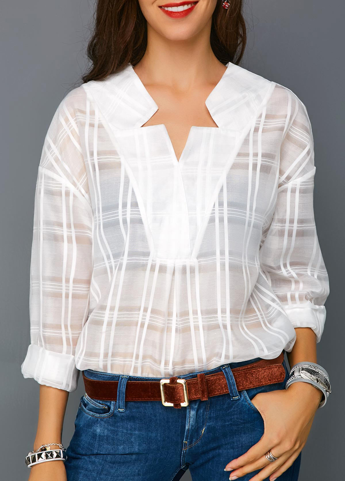Long Sleeve Curved Hem White Blouse
