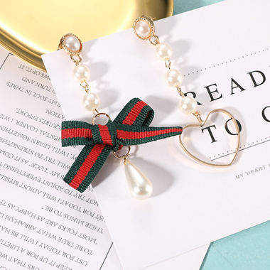 Bead Decorated Bowknot and Heart Shape Earrings