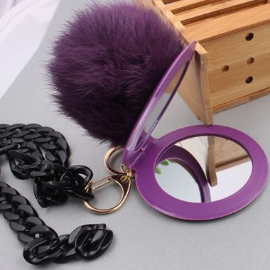 Metal Chain Purple Furry Ball Pendant Sweater Necklace