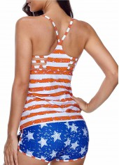 8a23c4d96c Striped Orange Cutout Tankini Top and Blue Shorts | modlily.com ...