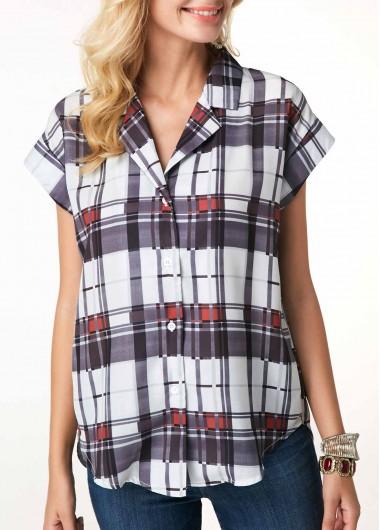 Short Sleeve Button Up Plaid Print Blouse - L