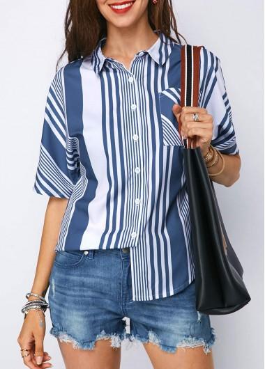 Turndown Collar Striped Half Sleeve Shirt
