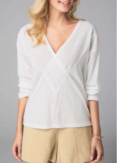 Long Sleeve White V Neck Blouse - L