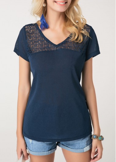 Short Sleeve Navy Blue Crochet Detail T Shirt - L