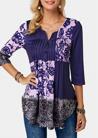 Split Neck Crinkle Chest Flower Print Blouse