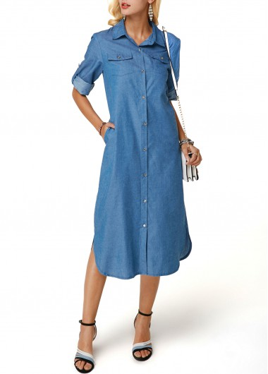Turndown Collar Button Up Denim Dress