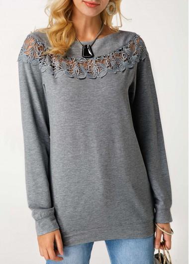 Crochet Panel Grey Marl Pullover Sweatshirt
