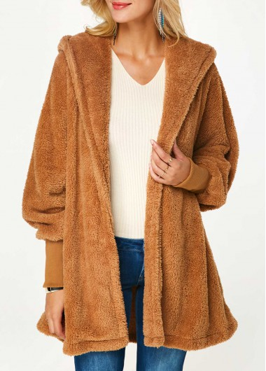 Blouson Sleeve Hooded Collar Side Slit Fluffy Coat