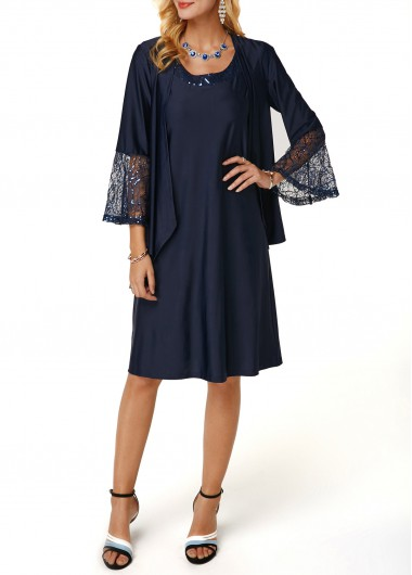 Lace Panel Cardigan and Round Neck Dress
