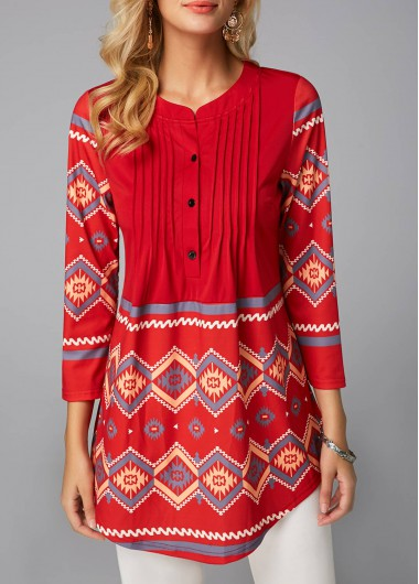 Women's 3/4 Sleeve Casual Blouse Top Red Button Detail Printed Curved Blouse - M