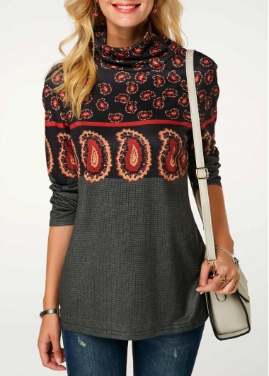 Cowl Neck Long Sleeve Printed Sweatshirt - M