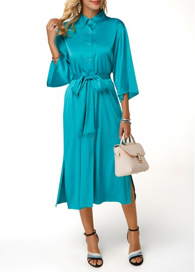Turndown Collar Button Up Belted Dress