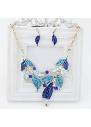 Blue Leaf Shape Gold Metal Chain Necklace Set