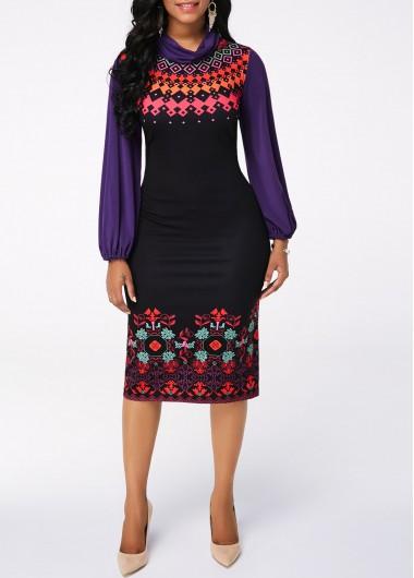 Printed Long Sleeve Black Sheath Dress