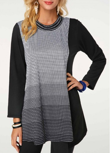 Round Neck Long Sleeve Striped Black Blouse