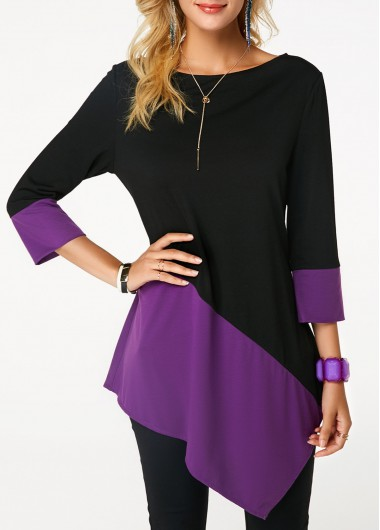 Color Block Boat Neck Asymmetric Hem T Shirt