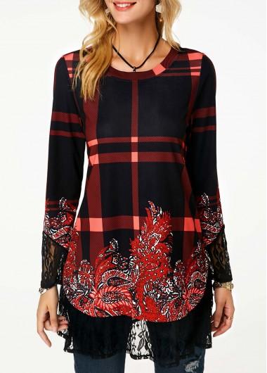 Long Sleeve Lace Panel T Shirt
