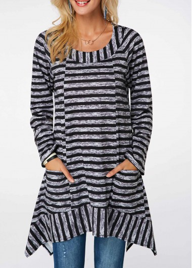 Asymmetric Hem Long Sleeve Striped Blouse