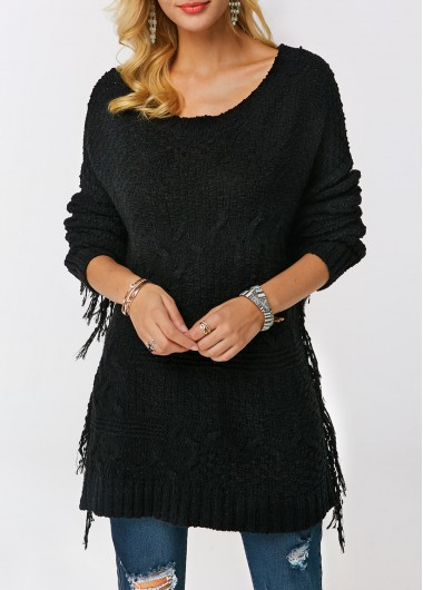 Tassel Embellished Round Neck Long Sleeve Black Sweater