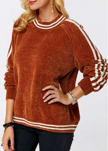 Blouson Sleeve Round Neck Rust Red Striped Sweater
