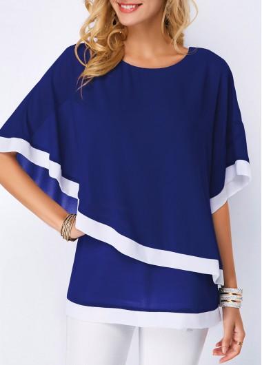Half Sleeve Navy Blue Chiffon Overlay Blouse