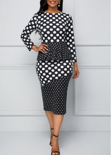 Polka Dot Print Peplum Waist Long Sleeve Dress