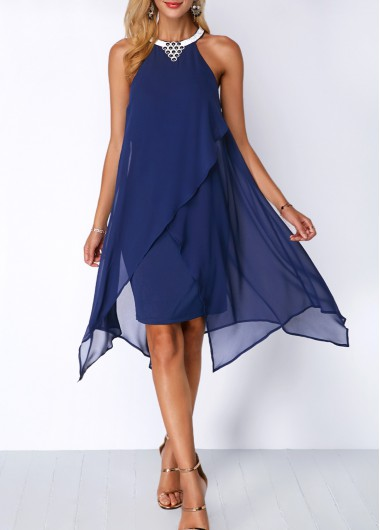 Chiffon Overlay Embellished Neck Blue Dress
