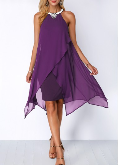 Embellished Neck Asymmetric Hem Purple Chiffon Dress