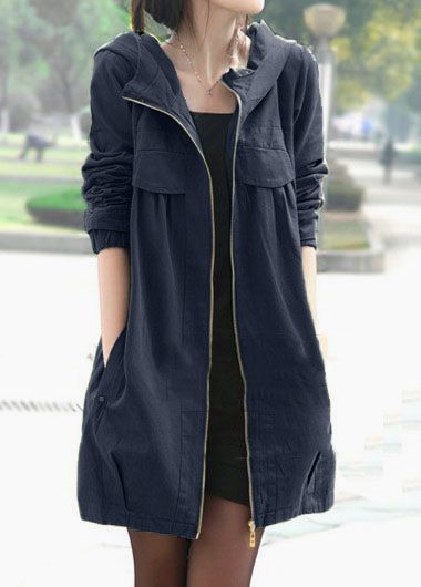 Long Sleeve Zipper Up Hooded Collar Coat