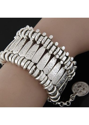 Coin Pendant Silver Metal Wide Cuff Bracelet