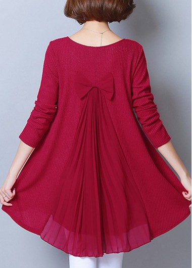 Long Sleeve Bowknot Detail Wine Red Blouse - 10