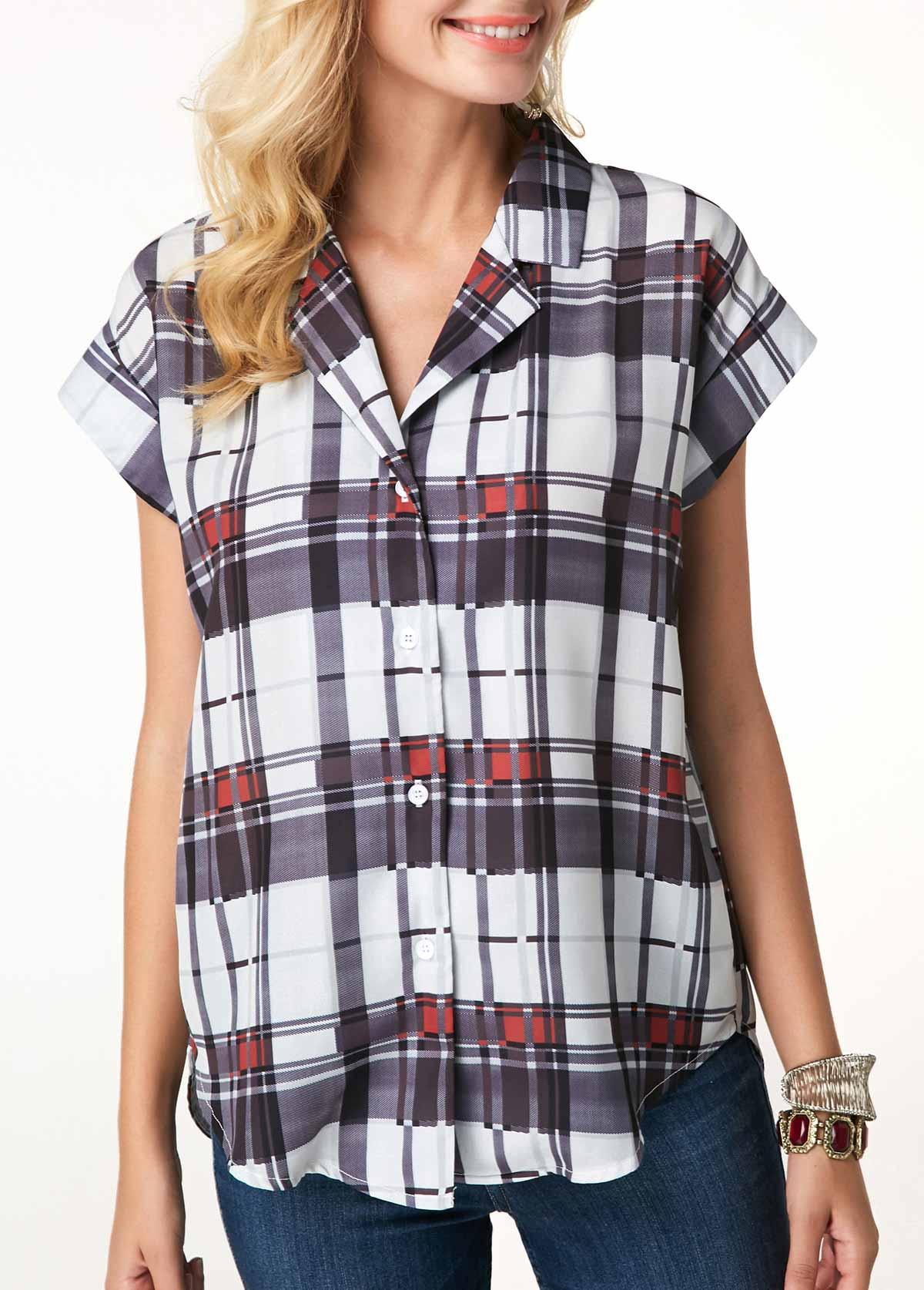 Short Sleeve Button Up Plaid Print Blouse