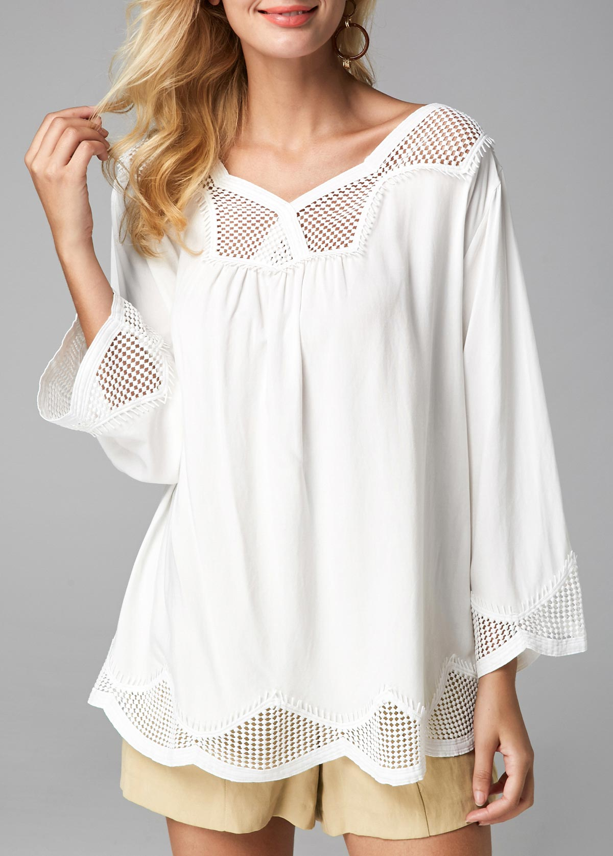 Fishnet Panel Three Quarter Sleeve White Blouse
