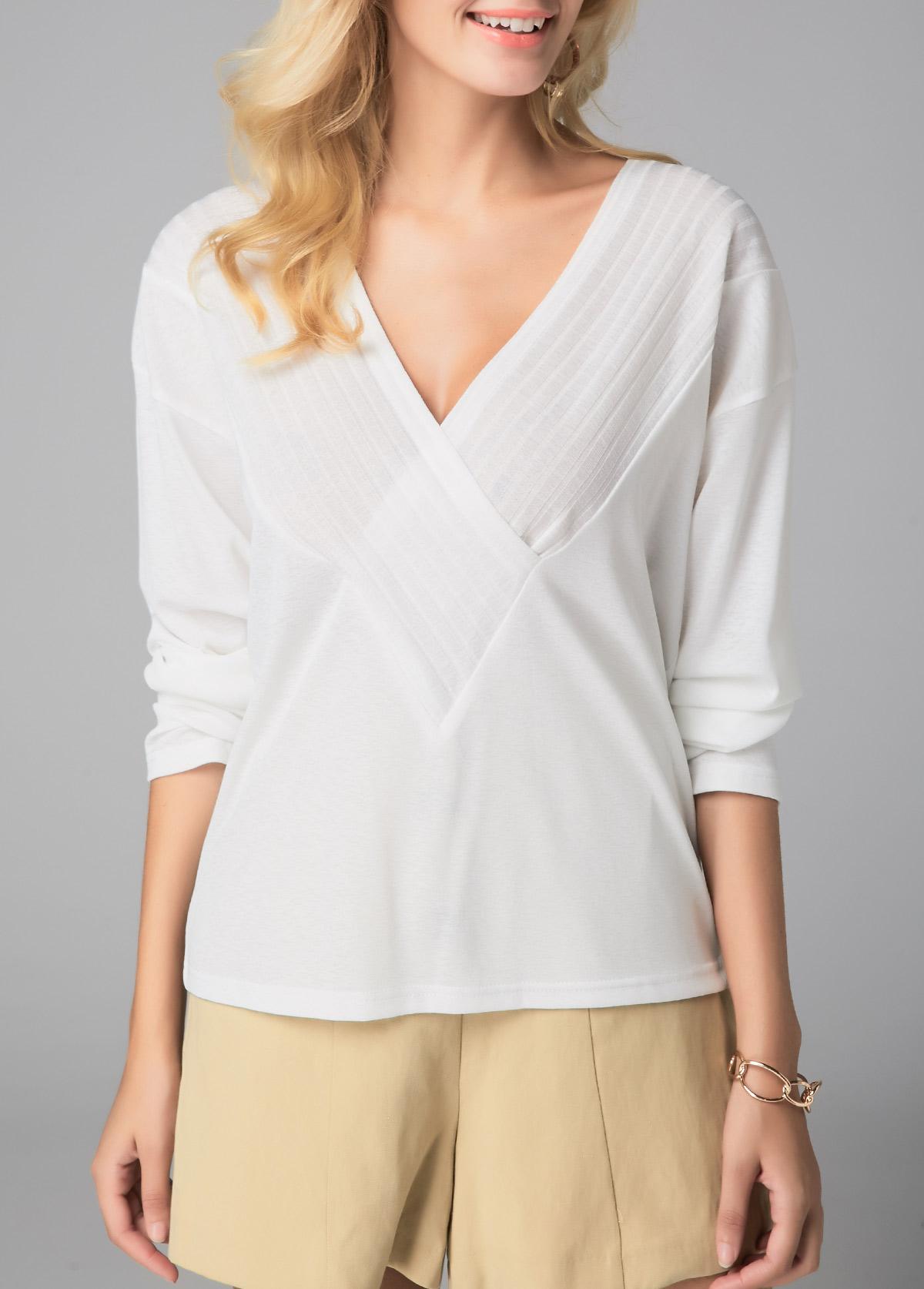Long Sleeve White V Neck Blouse