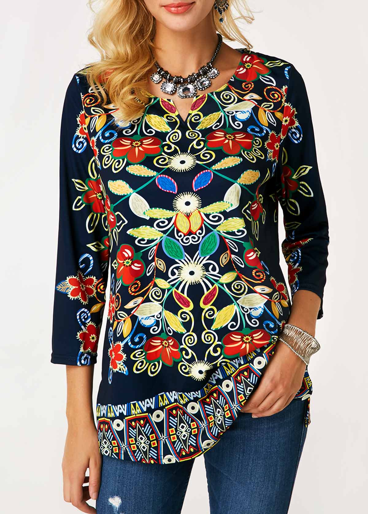 Split Neck Flower Print Curved Blouse