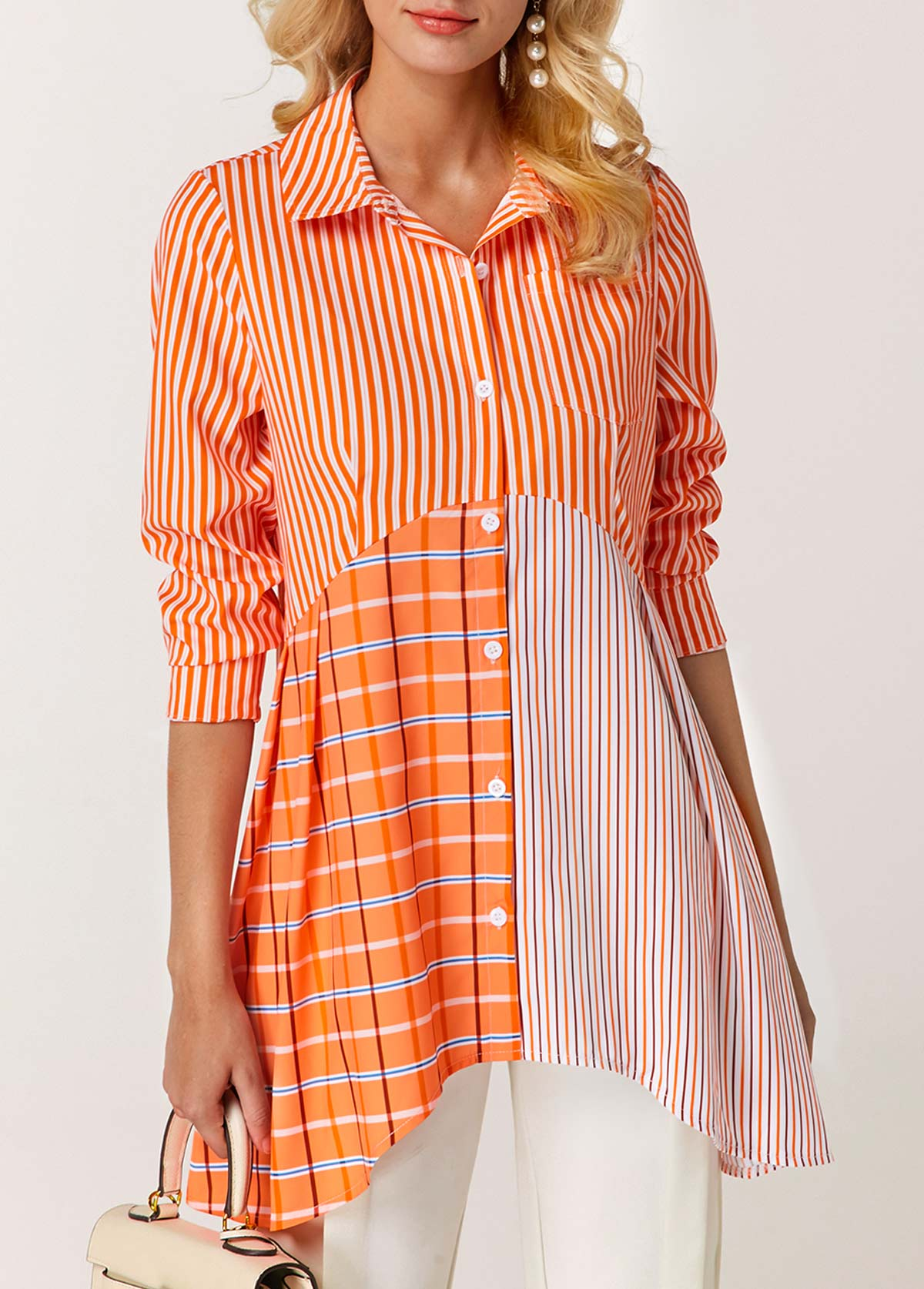 Button Front Asymmetric Hem Orange Blouse