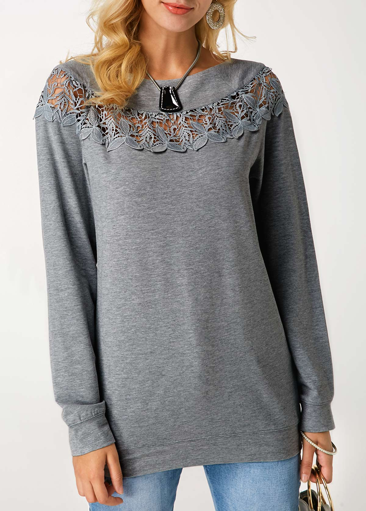 Crochet Panel Grey Marl Pullover Sweatshirt