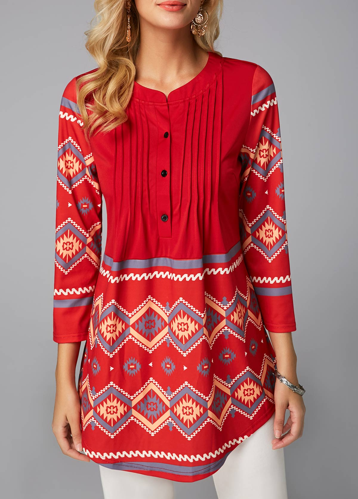 Red Button Detail Printed Curved Blouse