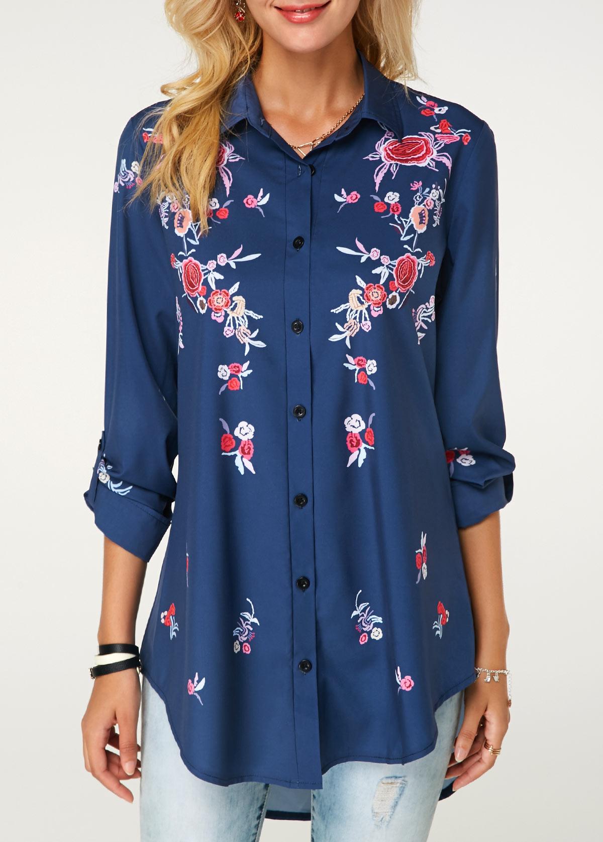 Turndown Collar Button Up Flower Print Shirt